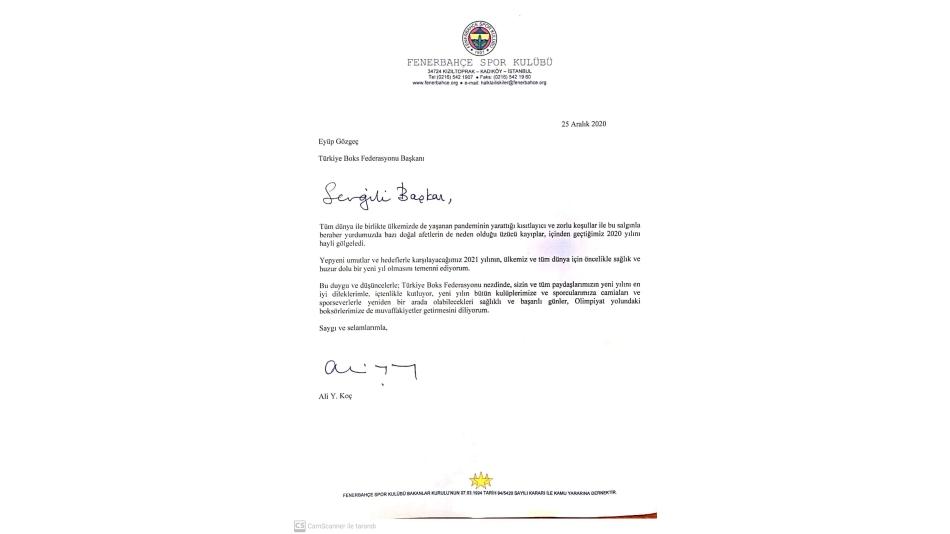 Fenerbahçe Spor Kulübü Başkanı Ali Koç, Federasyon Başkanımız Eyüp Gözgeç'e yeni yıl tebrik mesajı gönderdi.